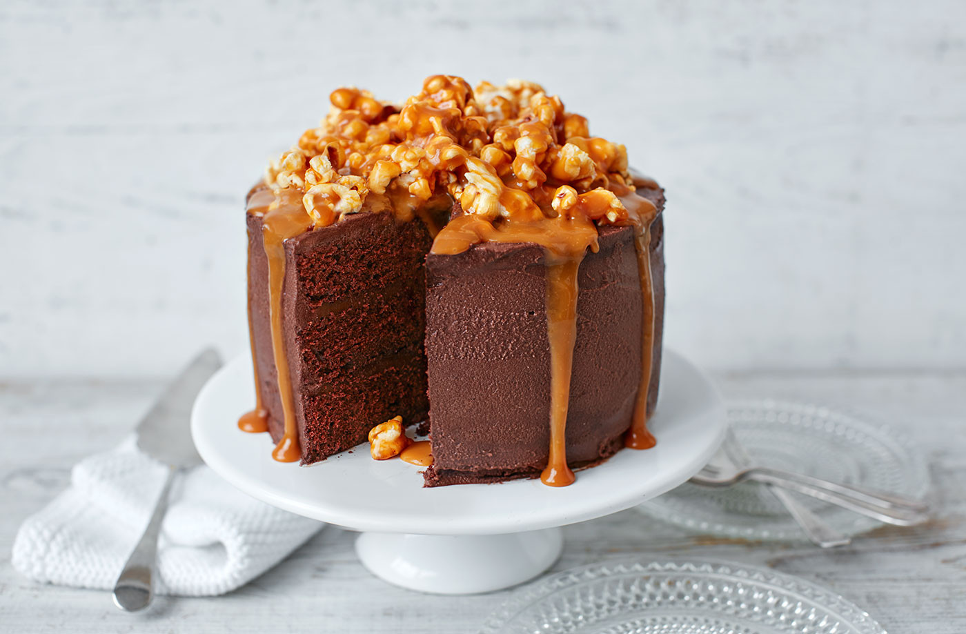 Chocolate Caramel Cake  Chocolate popcorn and salted caramel cake
