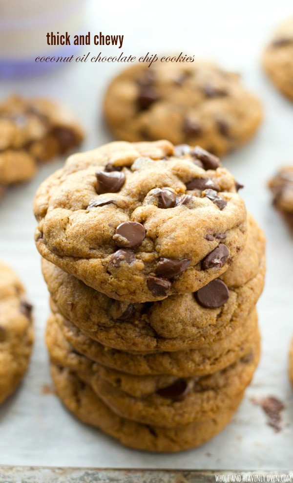 Chocolate Chip Cookies With Coconut Oil  Thick and Chewy Coconut Oil Chocolate Chip Cookies