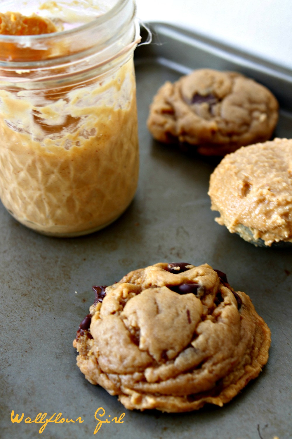 Chocolate Chip Peanut Butter Cookies  My Favorite Puffy Chewy Peanut Butter Chocolate Chip