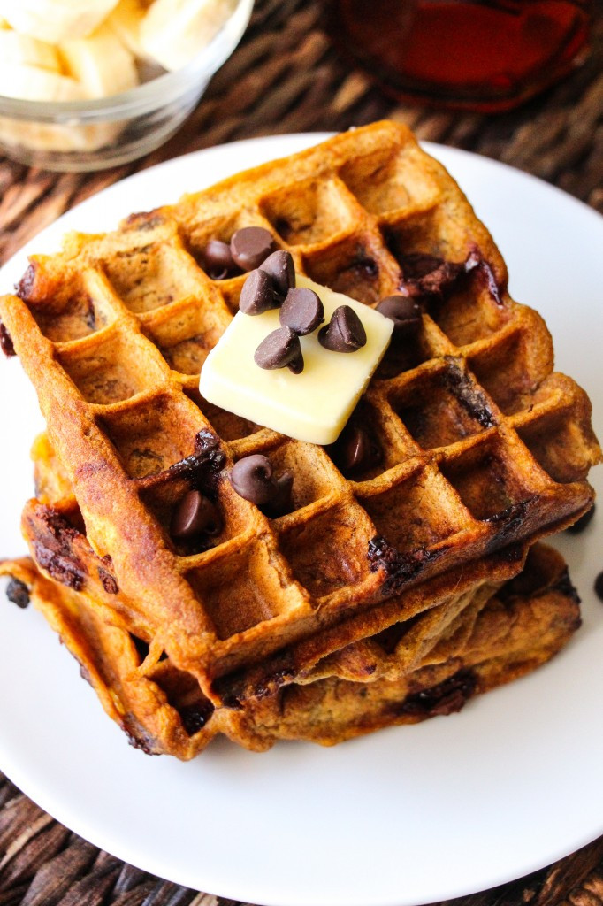 Chocolate Chip Waffles  Healthy Pumpkin Chocolate Chip Waffles Layers of Happiness