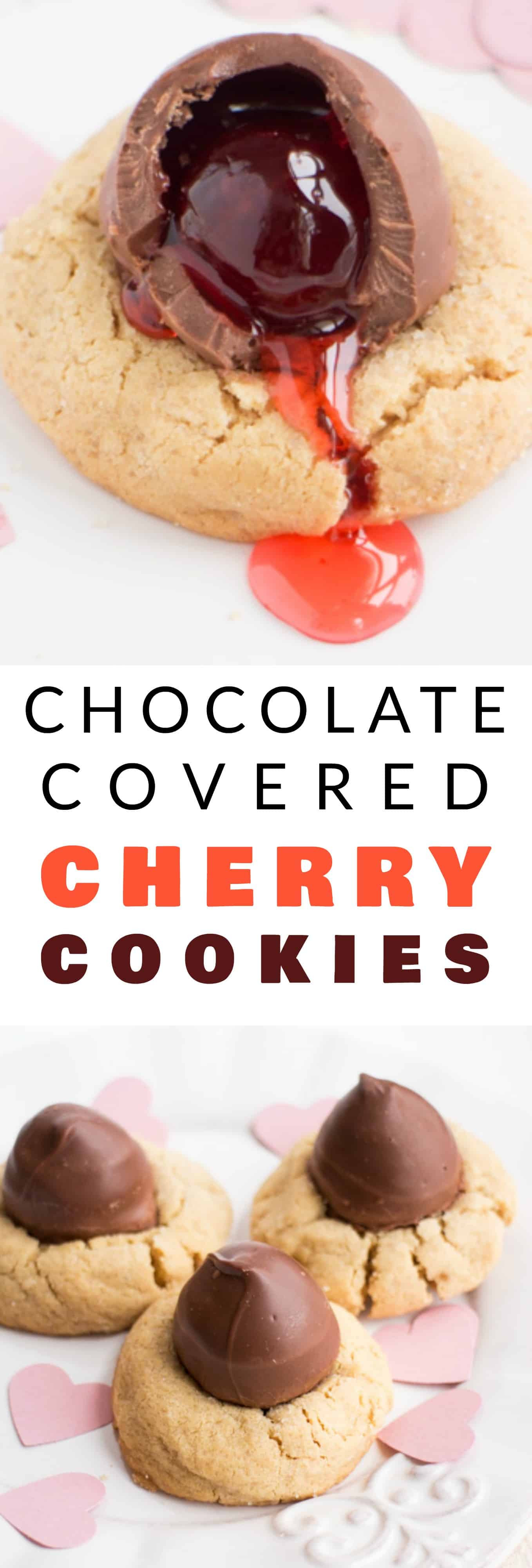 Chocolate Covered Cherry Cookies  Chocolate Covered Cherry Peanut Butter Blossom Cookies