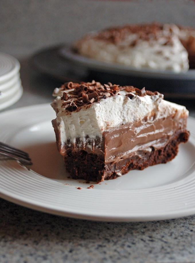 Chocolate Cream Pie With Pudding  Homemade Brownie Bottom Chocolate Pudding Pie
