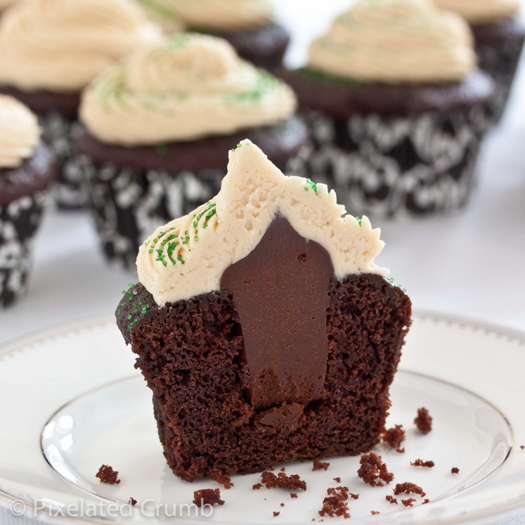 Chocolate Filling Cupcakes  Chocolate Stout Cupcakes with Whiskey Ganche and Irish