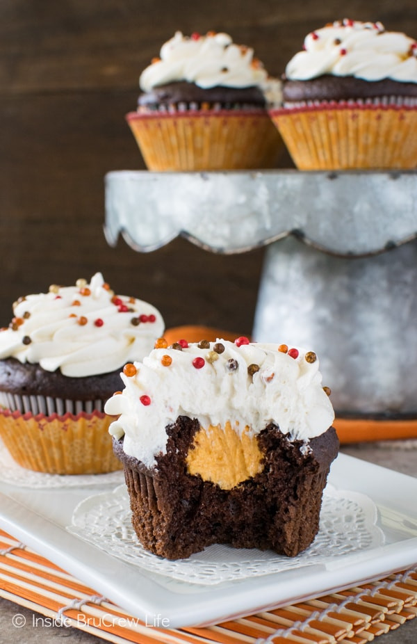 Chocolate Filling Cupcakes  Chocolate Pumpkin Cream Filled Cupcakes Inside BruCrew Life