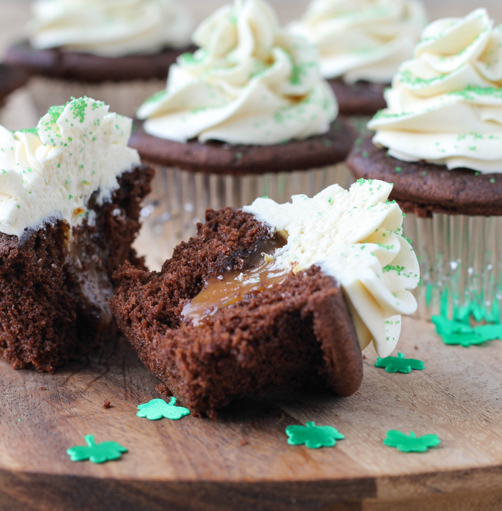 Chocolate Filling Cupcakes  Guinness Chocolate Cupcakes with Bailey s Butter Cream and