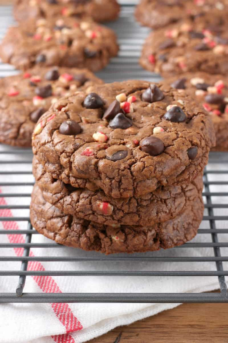 Chocolate Fudge Cookies  Giant Peppermint Chocolate Fudge Cookies A Kitchen Addiction