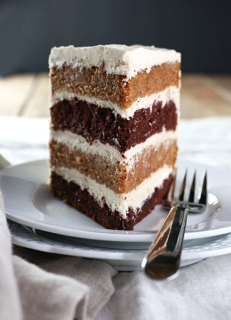 Chocolate Layer Cake Recipe  Pumpkin Chocolate Layer Cake with Whipped Brown Sugar Frosting