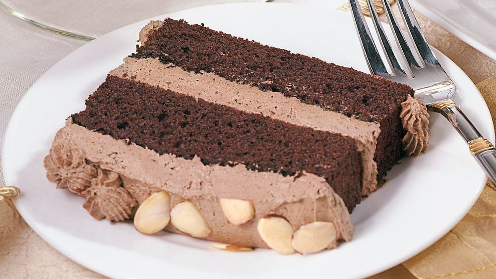 Chocolate Mousse Cake Filling  Chocolate Almond Mousse Cake recipe from Pillsbury
