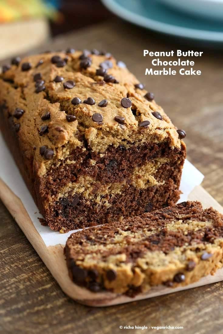 Chocolate Peanut Butter Cake Recipe  Almond or Peanut Butter Chocolate Marble Cake Vegan Richa