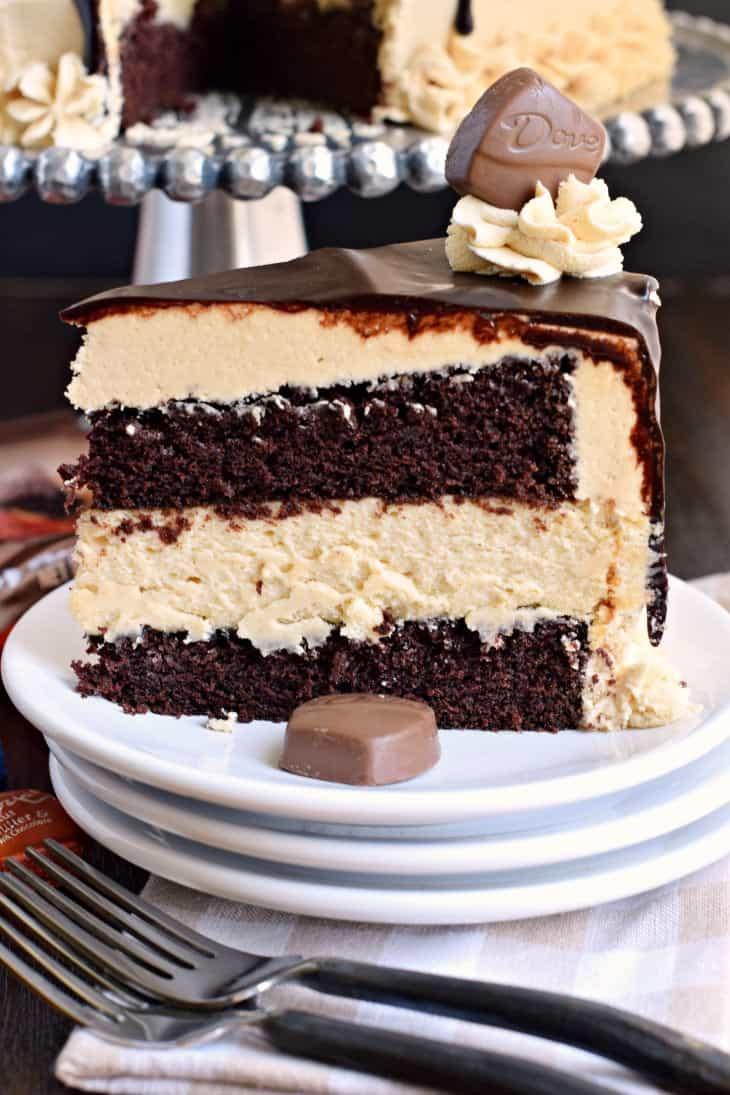 Chocolate Peanut Butter Cake Recipe  Chocolate Peanut Butter Cheesecake Cake with DOVE