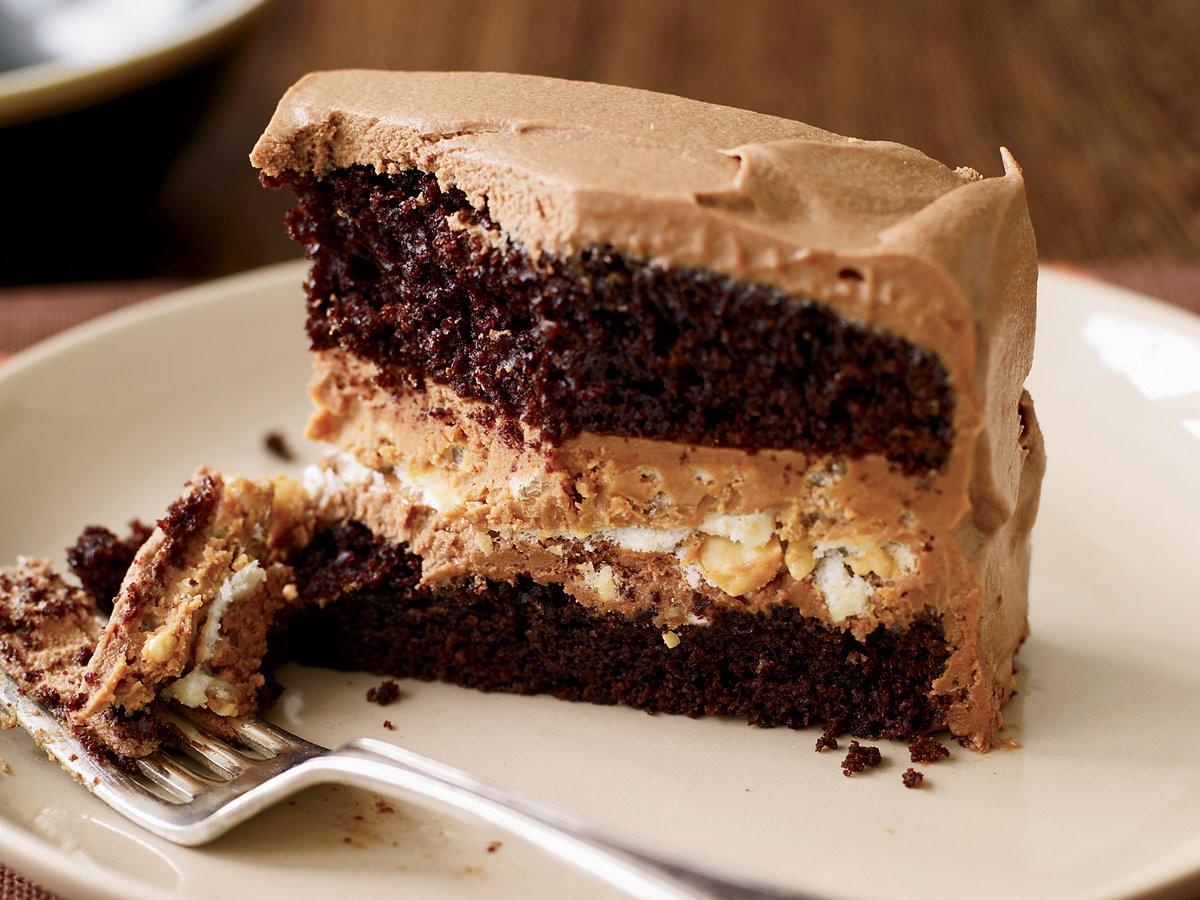 Chocolate Peanut Butter Cake Recipe  Crunchy Milk Chocolate Peanut Butter Layer Cake Recipe