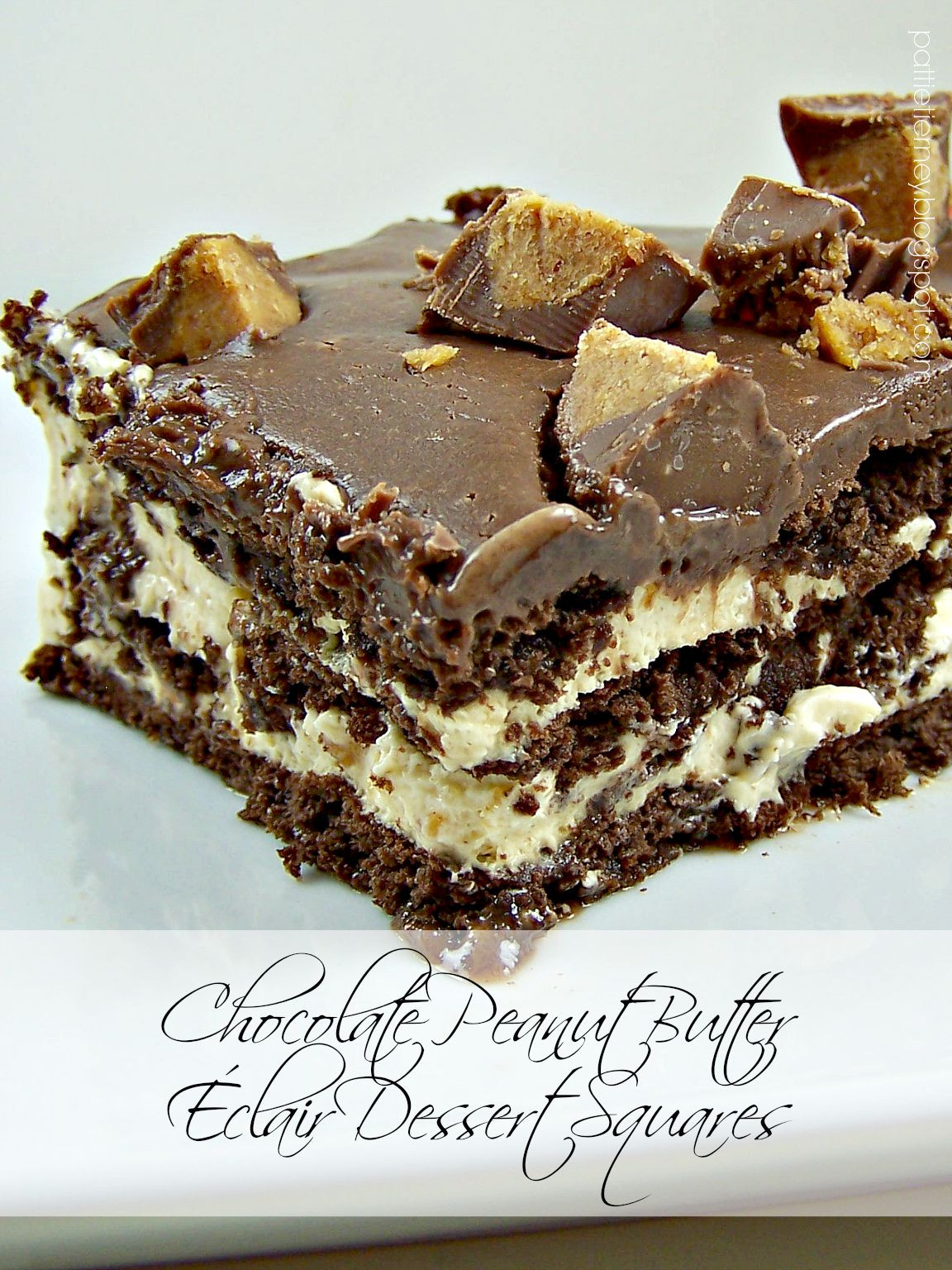 Chocolate Peanut Butter Dessert Recipe  Olla Podrida Chocolate Peanut Butter Éclair Dessert Squares