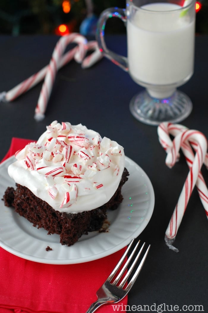 Chocolate Peppermint Cake  Chocolate Fudge Peppermint Poke Cake Wine & Glue