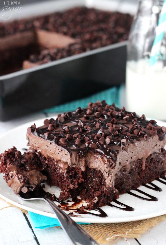 Chocolate Poke Cake  chocolate poke cake from scratch