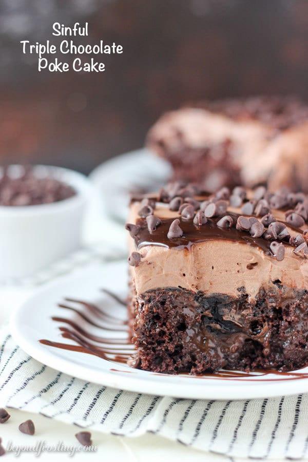 Chocolate Poke Cake  Sinful Triple Chocolate Poke Cake Beyond Frosting