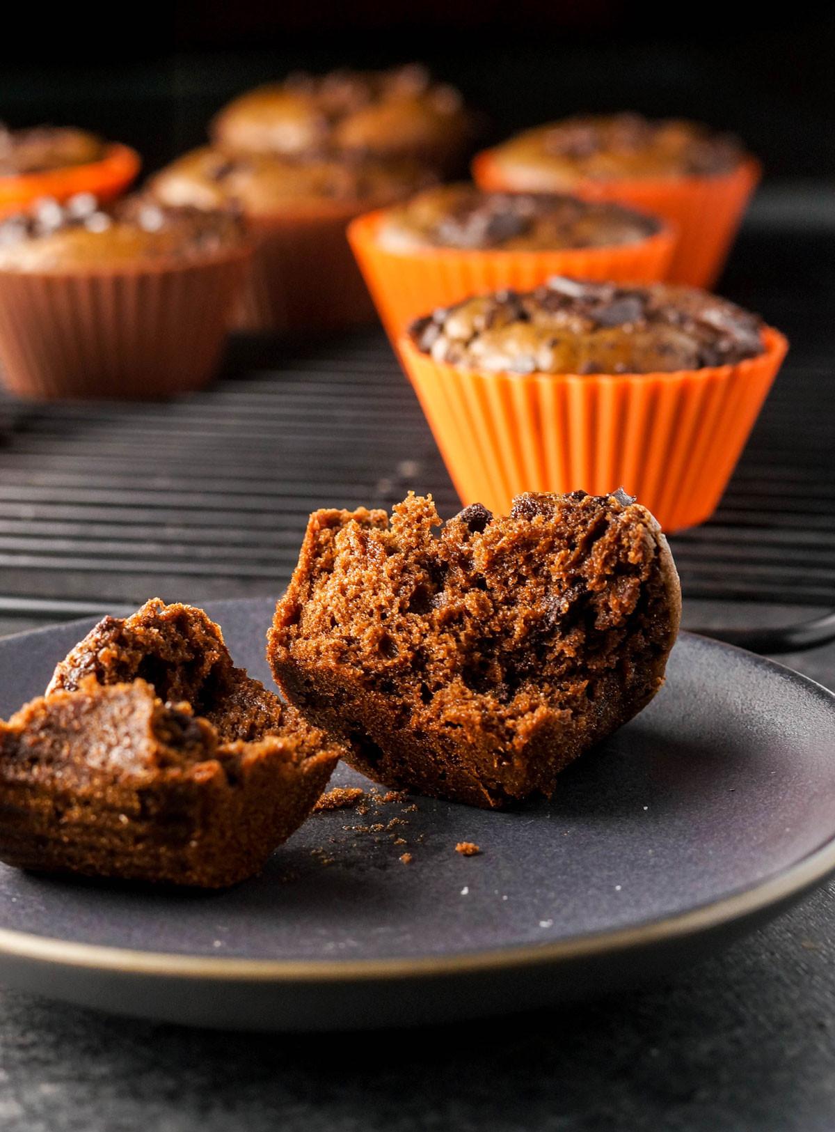 Chocolate Pumpkin Muffins  chocolate pumpkin muffins