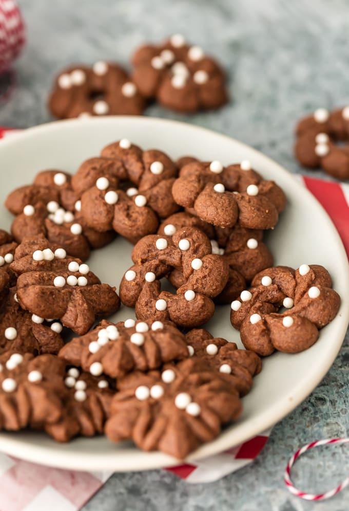 Chocolate Spritz Cookies  Spritz Cookie Recipe Gluten Free Chocolate Spritz Cookies
