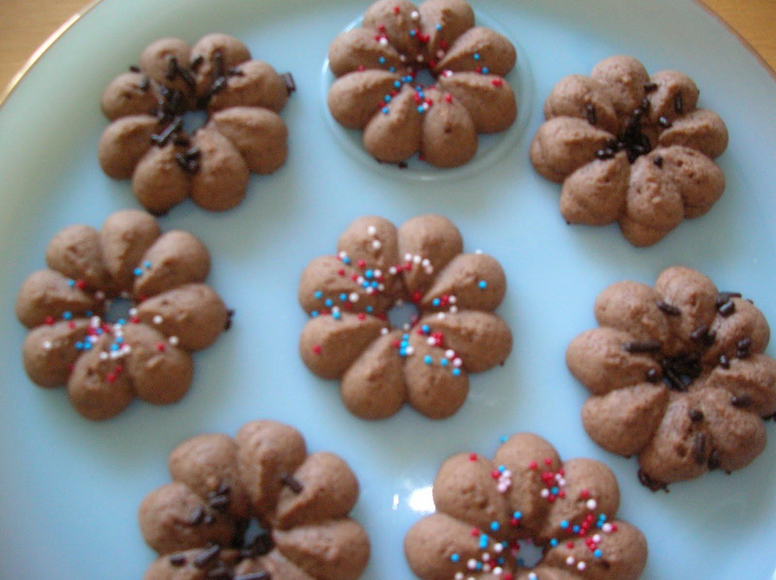Chocolate Spritz Cookies  A Year of Cookies Cookie Recipe 194 Chocolate Spritz