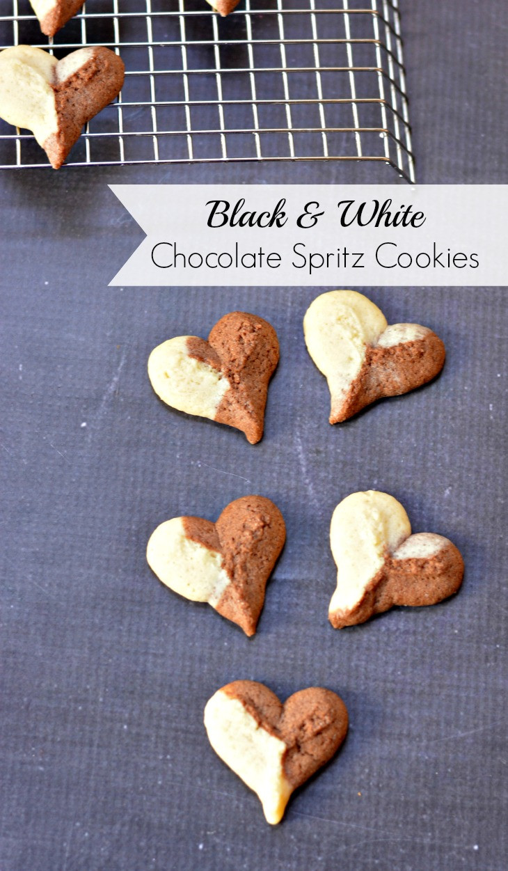 Chocolate Spritz Cookies  Black and White Chocolate Spritz Cookies
