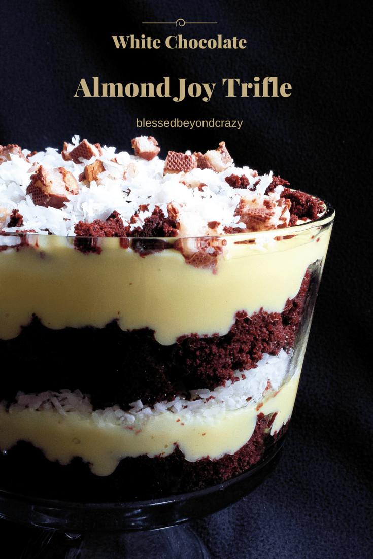 Chocolate Trifle Dessert  White Chocolate Almond Joy Trifle