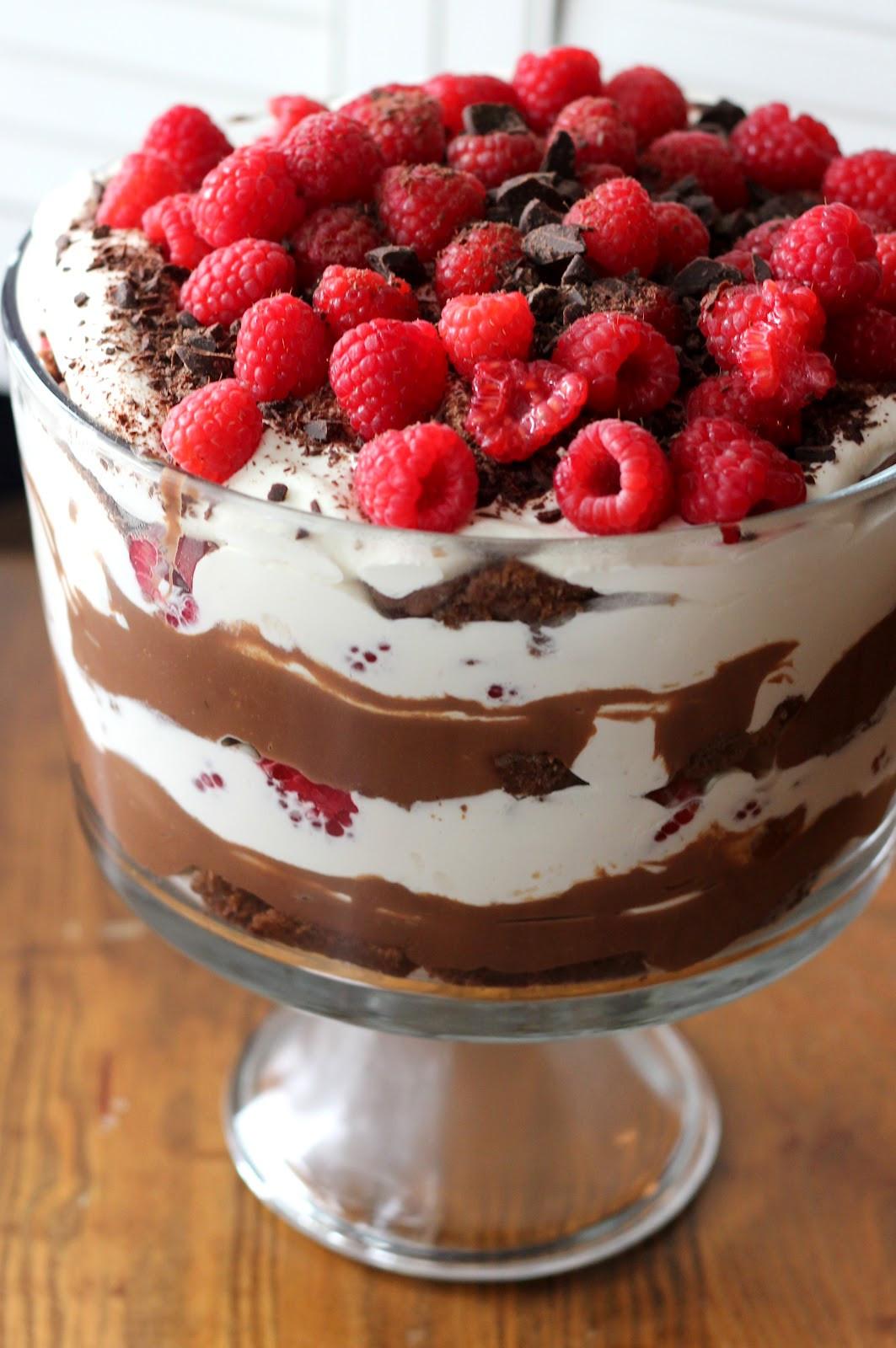Chocolate Trifle Dessert  Triple Chocolate Trifle with Raspberries