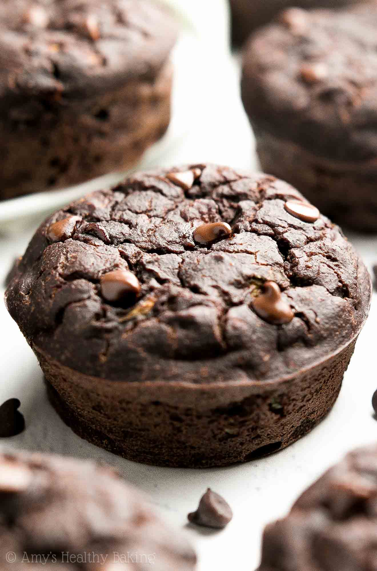 Chocolate Zucchini Muffins  Healthy Double Chocolate Zucchini Muffins