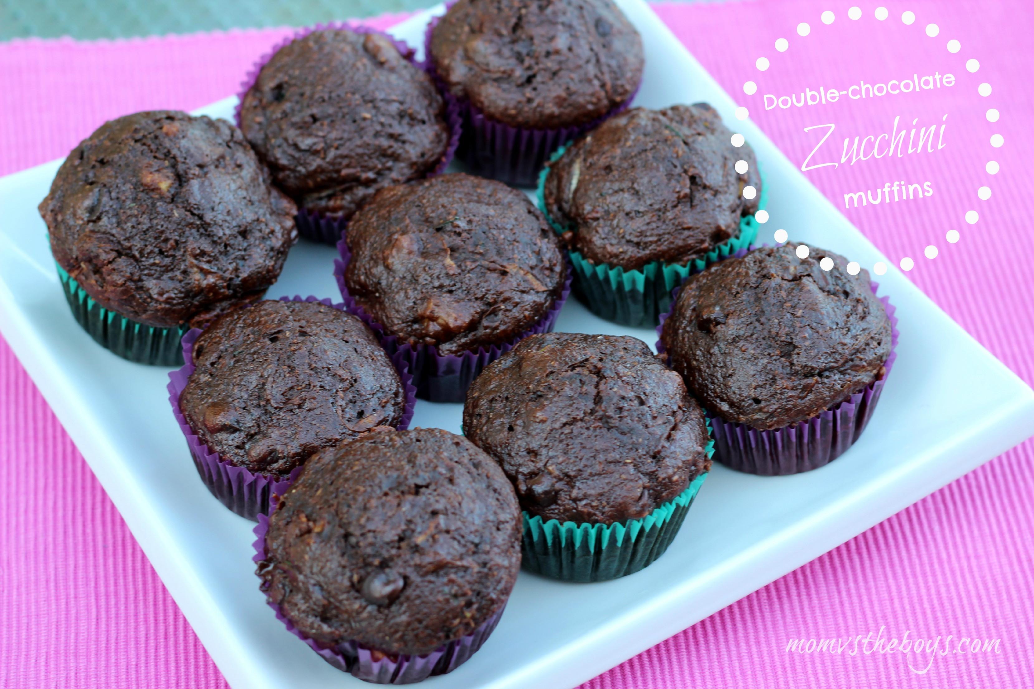 Chocolate Zucchini Muffins  Double Chocolate Zucchini Muffins Mom vs the Boys