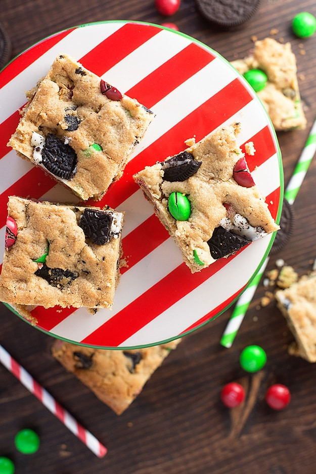 Christmas Bar Cookies  Peanut Butter Oreo Christmas Cookie Bars — Buns In My Oven