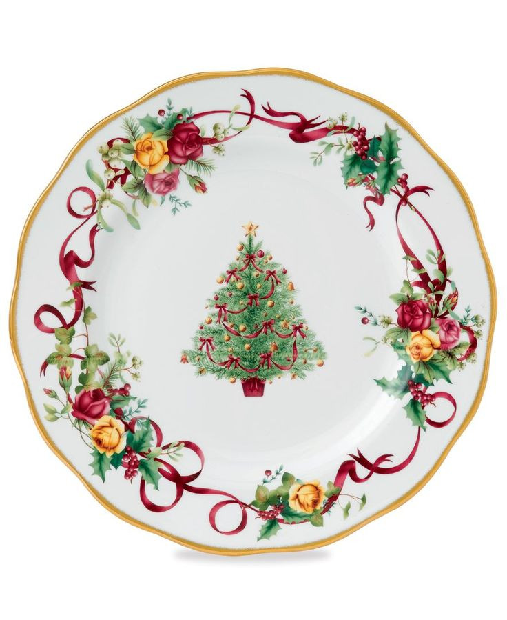 Christmas Dinner Plates  Royal Albert Dinnerware Old Country Roses Holiday Dinner