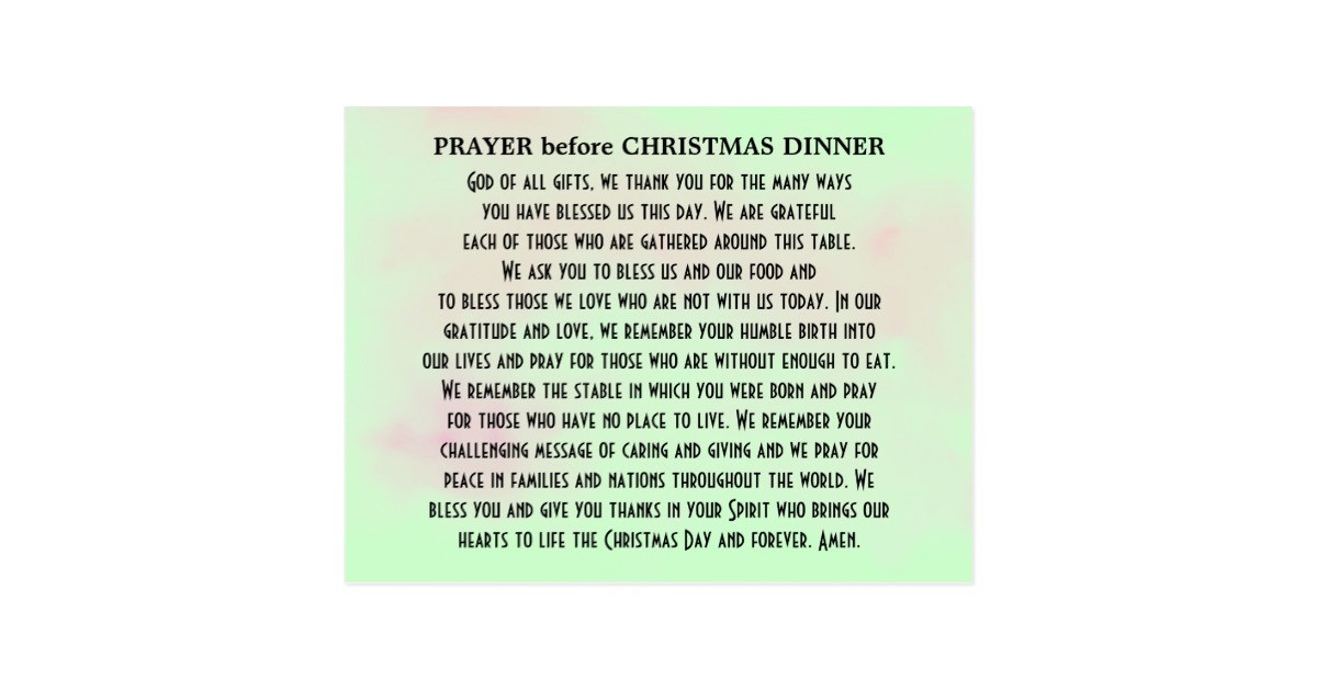 Christmas Dinner Prayer  Prayer before Christmas Dinner Postcard