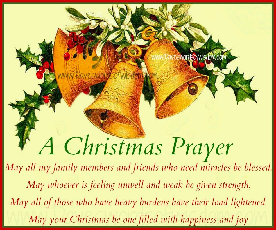 Christmas Dinner Prayer  Daveswordsofwisdom A Christmas Prayer for family and