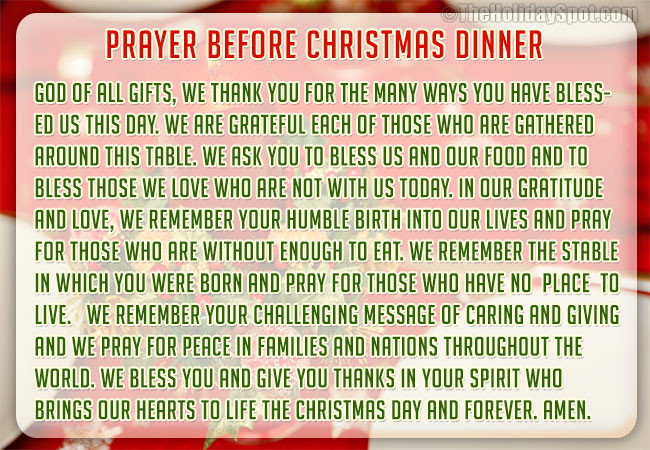 Christmas Dinner Prayer  Christmas Dinner Prayers