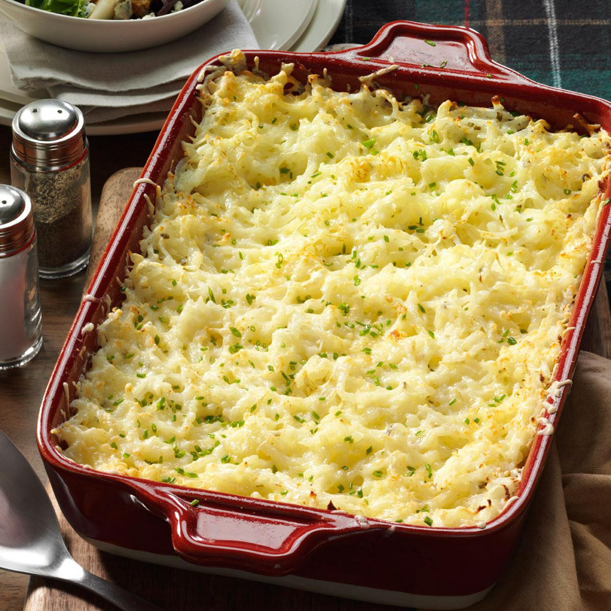 Christmas Side Dishes For A Crowd  Chive & ion Hash Brown Potatoes Recipe