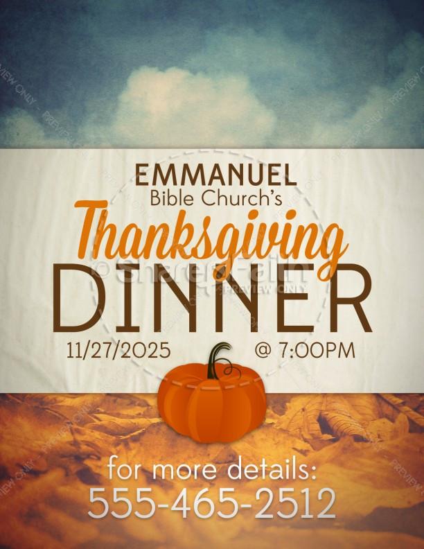 Church Thanksgiving Dinner  Thanksgiving Dinner Religious Flyer Template