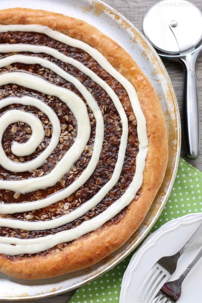 Cinnamon Roll Dessert  Cinnamon Roll Dessert Pizza Dessert Now Dinner Later