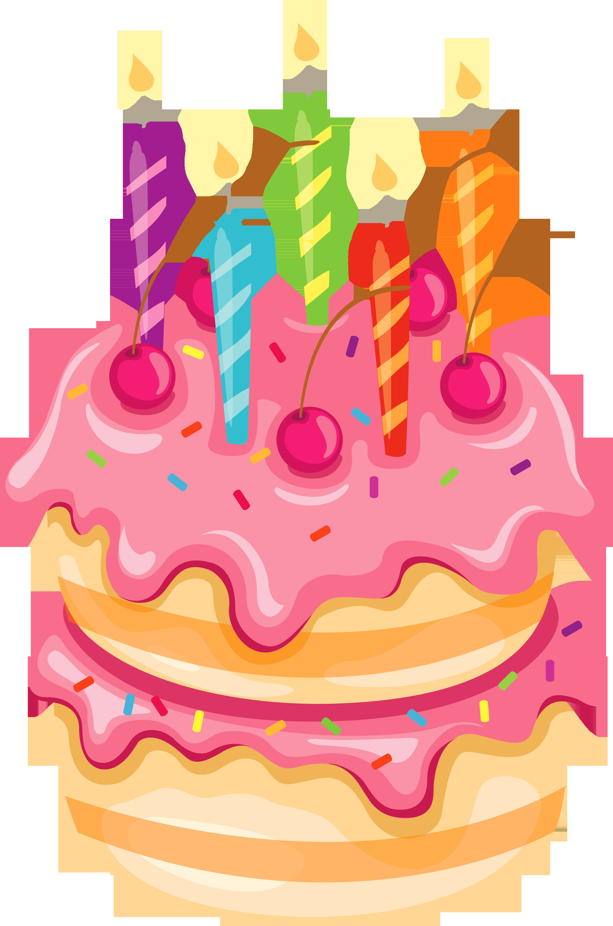 Clipart Birthday Cake  Pink Cake with Candles PNG Clipart
