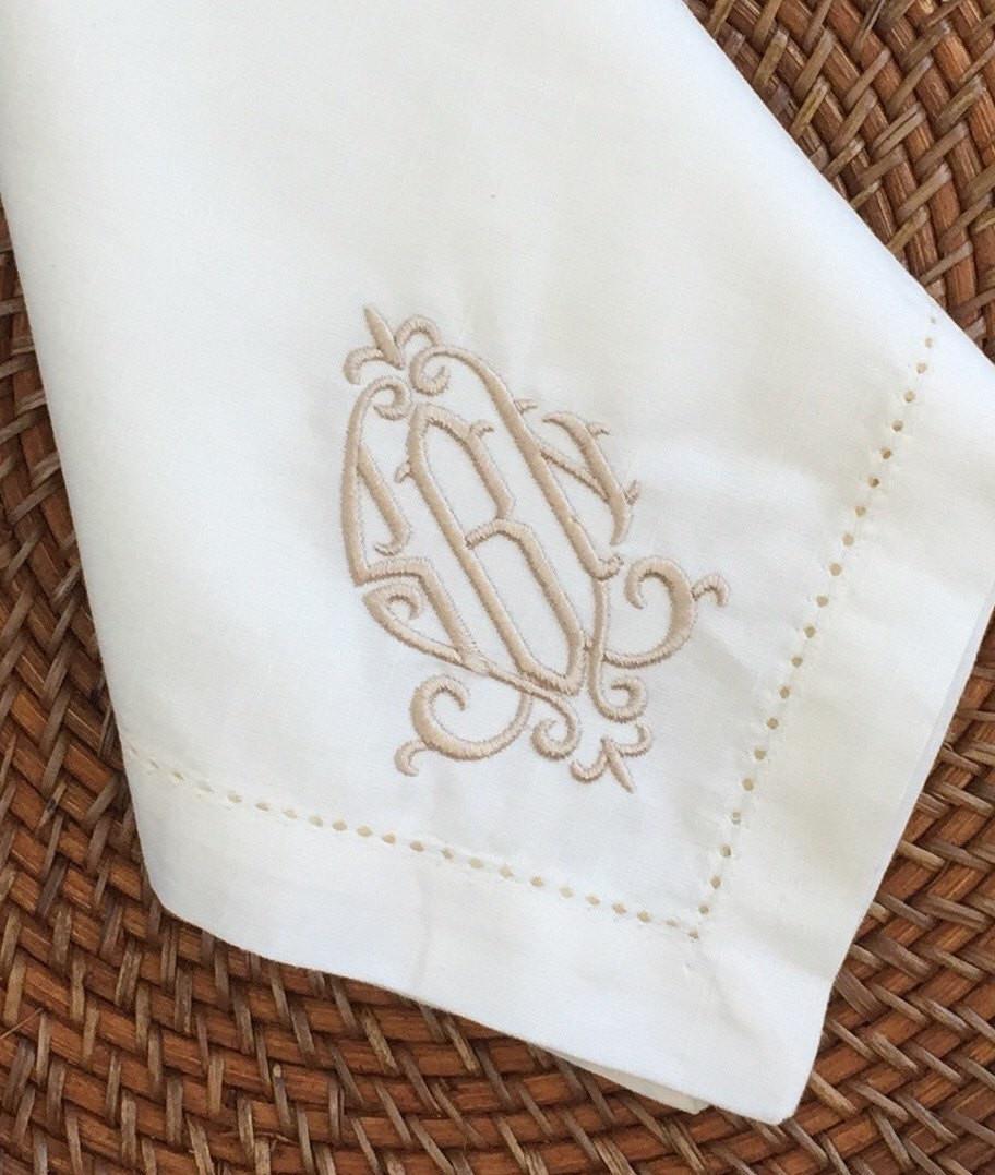 Cloth Dinner Napkins  Monogrammed Hemstitched Dinner Napkins Linen Like