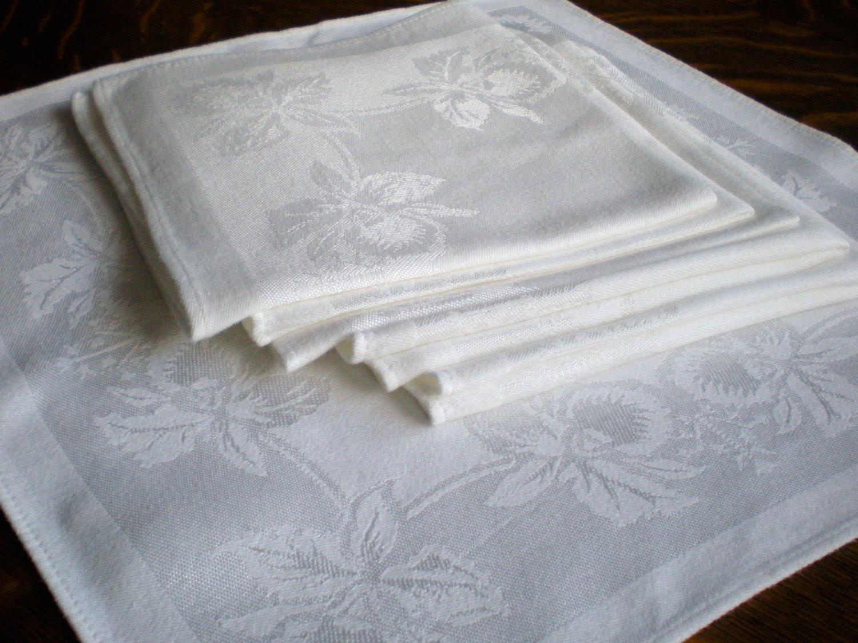 Cloth Dinner Napkins  Linen Dinner Napkins Cloth RESERVEDSet of 8 White Damask