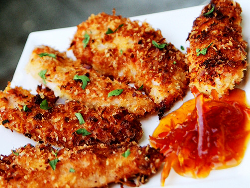 Coconut Chicken Tenders  Coconut Chicken Tenders with Honey Marmalade Dipping Sauce