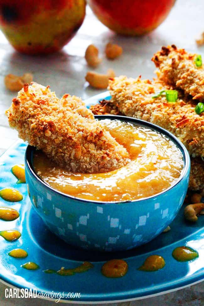 Coconut Chicken Tenders  Crispy Cashew Coconut Chicken Tenders with Mango Honey Dip