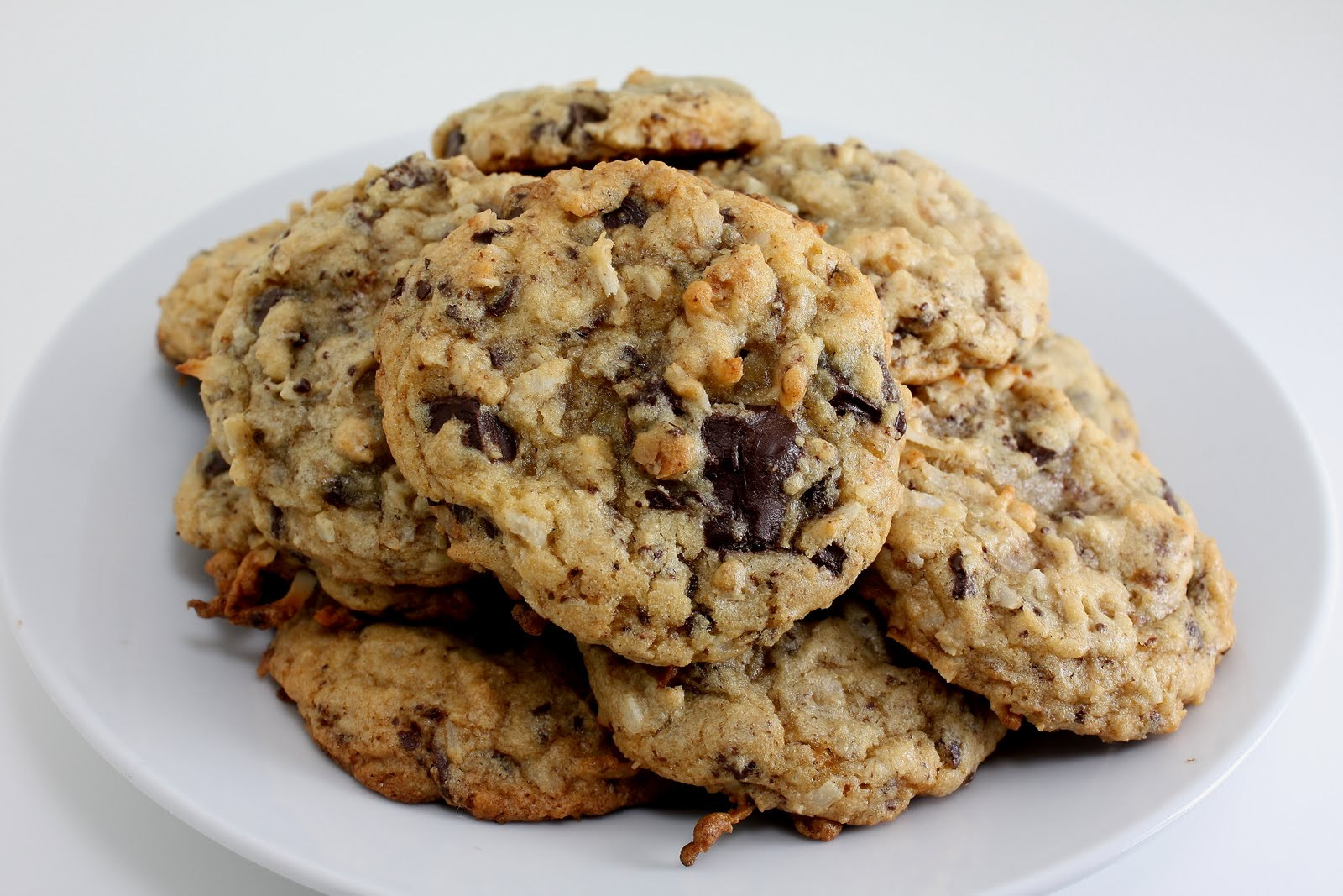 Coconut Chocolate Chip Cookies  Elizabeth s Edible Experience Cookie eback