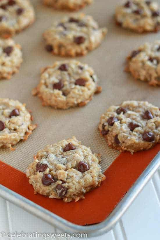 Coconut Chocolate Chip Cookies  Coconut Chocolate Chip Cookies Celebrating Sweets