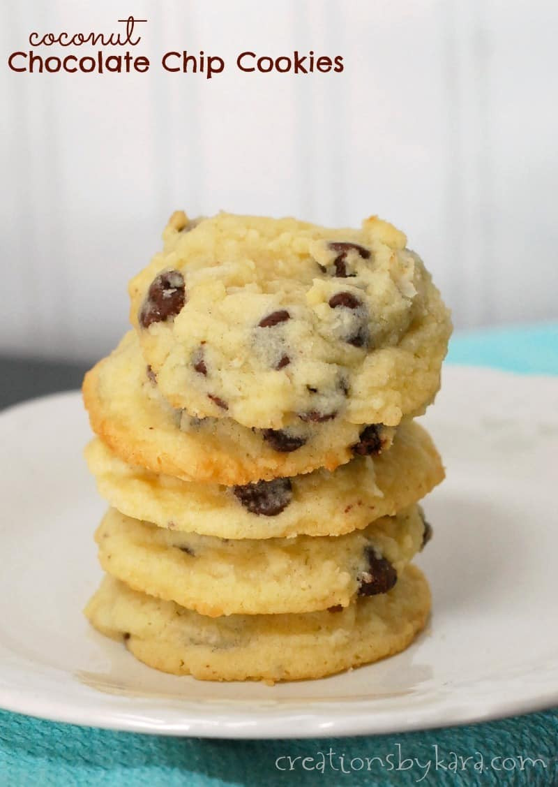 Coconut Chocolate Chip Cookies  Coconut Chocolate Chip Cookies Recipe — Dishmaps