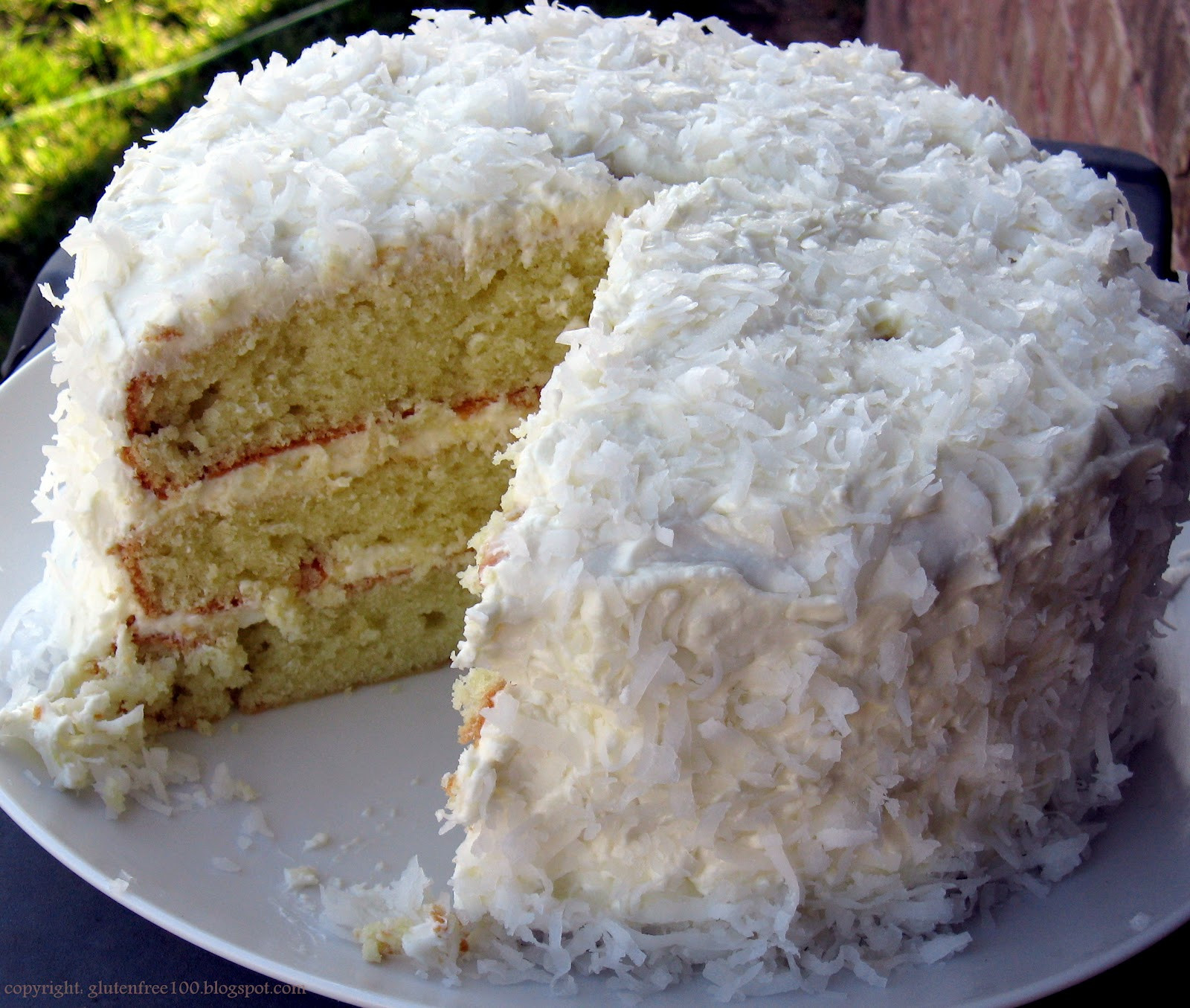 Coconut Layer Cake  Gluten Free 3 Layer Coconut Cake with Lemon Cream Cheese