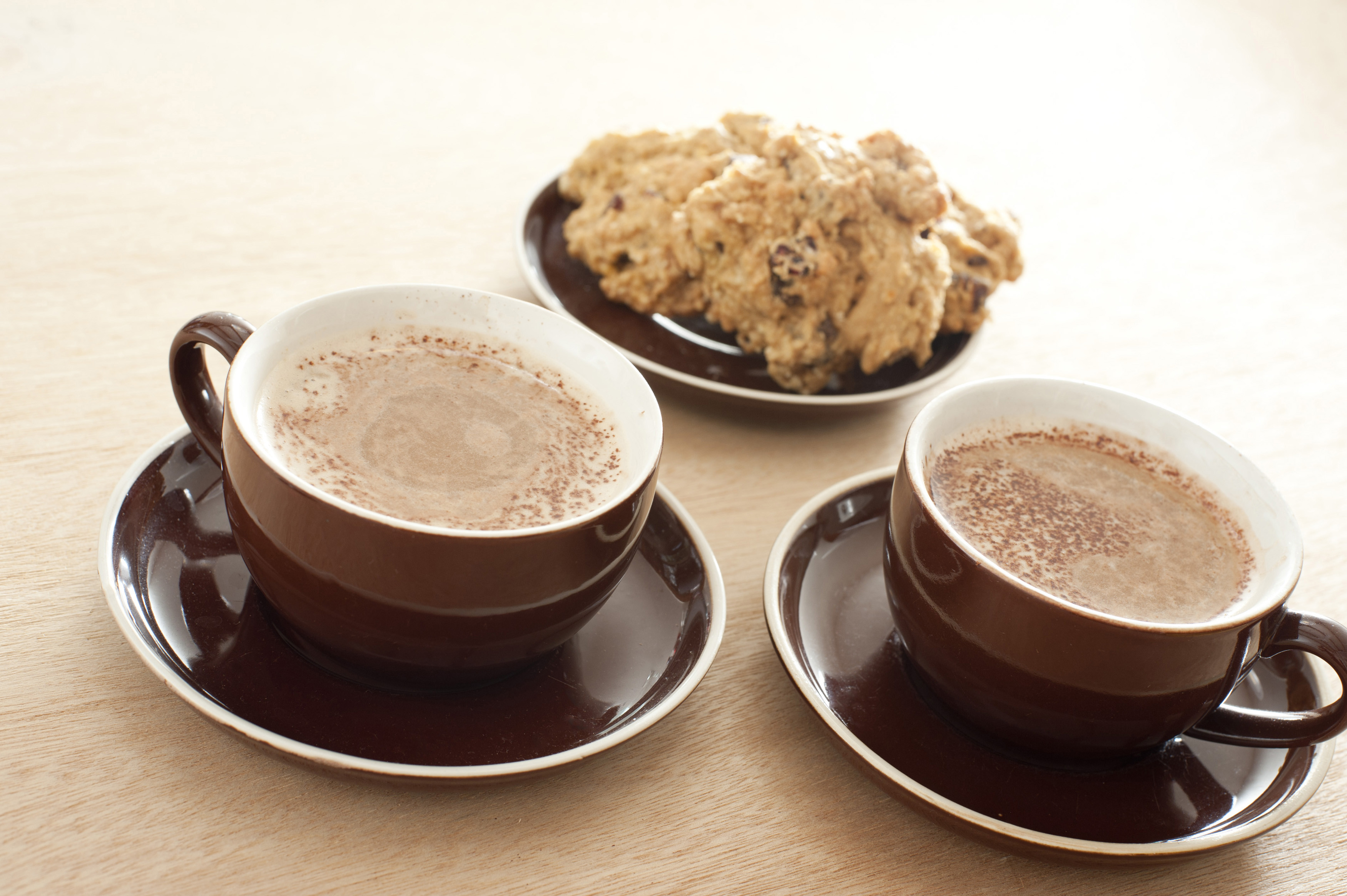 Coffee And Cake  Two cups of coffee with cake Free Stock Image