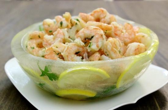 Cold Marinated Shrimp Appetizer  Marinated Shrimp In A Lemon Herb Ice Bowl Olga s Flavor