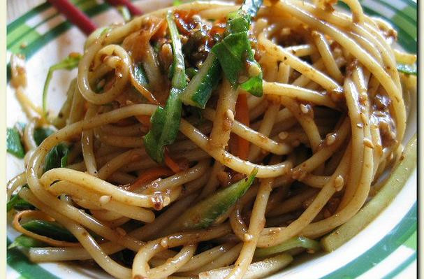 Cold Noodles With Sesame Sauce  Foodista Recipes Cooking Tips and Food News