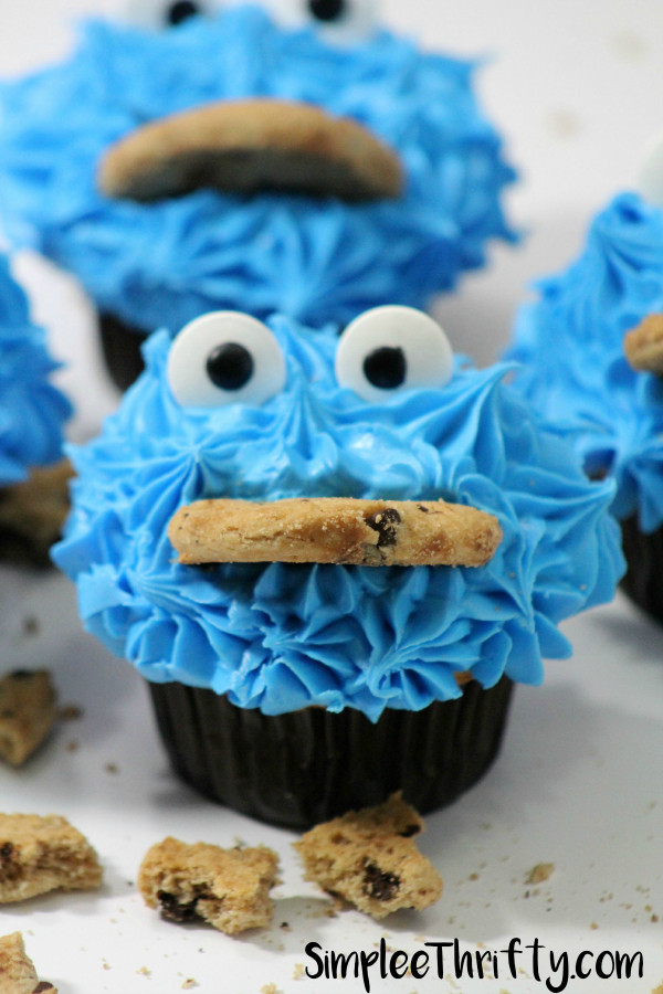 Cookie Monster Cupcakes  Cookie Monster Chocolate Cupcakes Simplee Thrifty