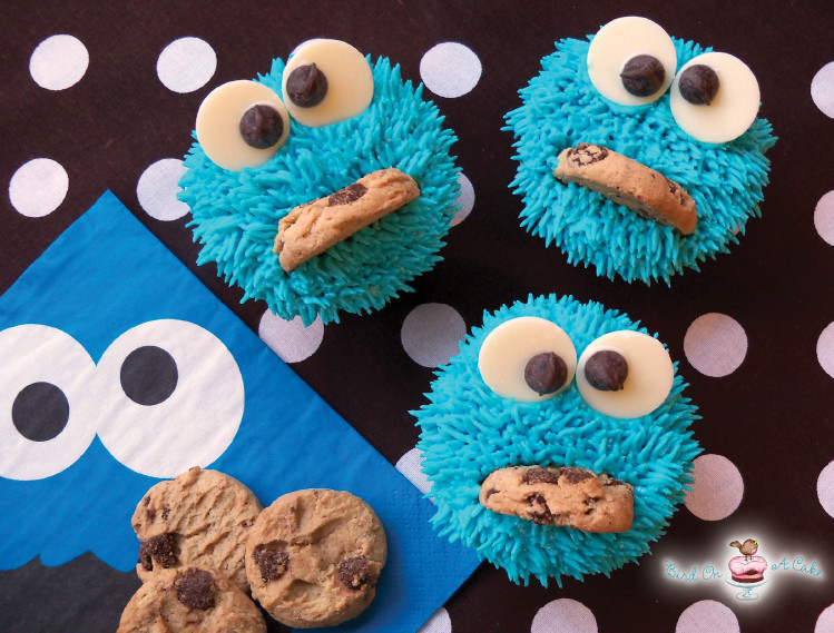 Cookie Monster Cupcakes  Bird A Cake Cookie Monster Cupcakes