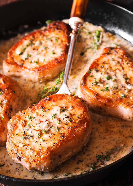 Cooking Boneless Pork Chops  Boneless Pork Chops in Creamy Garlic and Herb Wine Sauce